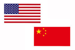 Flag of America and China. Royalty Free Stock Photo