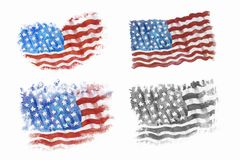 Flag of America, Hand-drawn, Watercolor painting. vector illustration