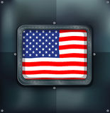 Flag of America on metalic wall Royalty Free Stock Photography