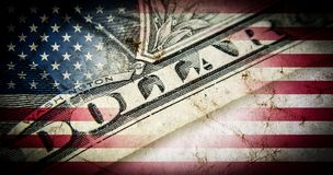 Flag of America with old grunge texture and a one hundred dollar bill closeup. stock illustration