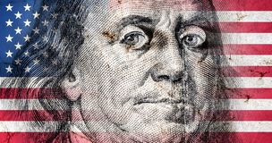 Flag of America with old grunge texture and portrait of Benjamin Franklin on one hundred dollars. Close up stock illustration