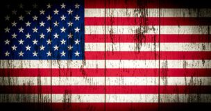 Flag of America with old grunge wooden texture. stock illustration