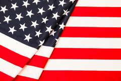 Flag of America. Pure linen fabric flag carefully folded in a fe Royalty Free Stock Photo