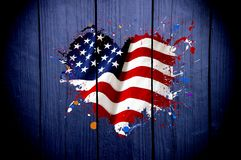 Flag of America in the shape of heart on a dark background stock image