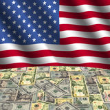 Flag with American dollars Stock Photos