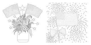 Flag Amerykańskich rysować ustawiam dla barwić stronę, karty i tak dalej również zwrócić corel ilustracji wektora royalty ilustracja