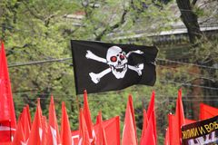 The flag of the anarchists. MOSCOW, RUSSIA - may 6, 2012: the flag of the anarchists in protest actions of the Russian opposition, may 6, 2012, Moscow, Russia Royalty Free Stock Image