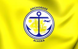 Flag of Anchorage City, Alaska. 3D Flag of Anchorage City, Alaska. Close Up Stock Photography