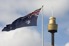 Flag And Centrepoint Tower Royalty Free Stock Photography