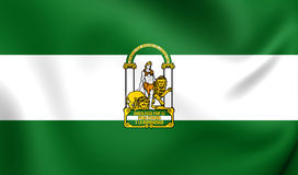 Flag of the Andalusia, Spain. Royalty Free Stock Photo