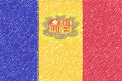 Flag of Andorra background o texture, color pencil effect. Royalty Free Stock Images