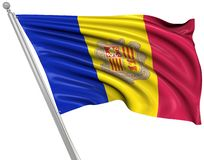 Flag of Andorra. This is a computer generated and 3d rendered picture royalty free illustration