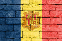 Flag of Andorra on old brick wall. Stock Photography