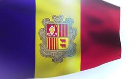 Flag of Andorra waving wind wave. Video stock video footage
