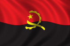 Flag of Angola. Waving in the wind Royalty Free Stock Photography