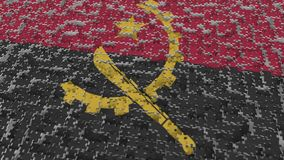Flag of Angola being made with jigsaw puzzle pieces. Angolan problem solution conceptual 3D rendering. Flag made of puzzle pieces, conceptual 3D royalty free illustration