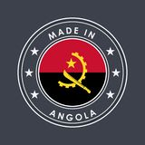 Flag of Angola. Round Label with Country Name for Unique National Goods. Vector. Isolated vector illustration