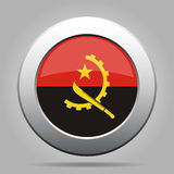 Flag of Angola. Shiny metal gray round button. Stock Image