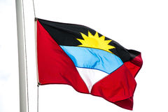 Flag of Antigua Isolated on White Royalty Free Stock Images