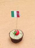 Flag on a apple cupcake, italy Stock Photography
