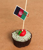 Flag on a apple cupcake Royalty Free Stock Photo