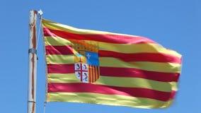 Flag of Aragon, Spain stock video