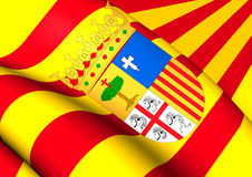 Flag of Aragon, Spain. Stock Image