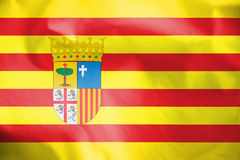 Flag of Aragon, Spain. Stock Images