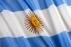 Flag of Argentina. Close up shot of wavy flag of Argentina Stock Images