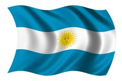 Flag of Argentina. Waving in the wind Stock Photos