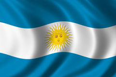 Flag of Argentina. Waving in the wind Royalty Free Stock Photos