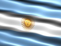 Flag of Argentina. Computer generated illustration with silky appearance and waves Stock Photography