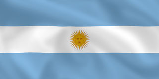 Flag of Argentina. Argentinian waving flag (background or wallpaper Stock Photos