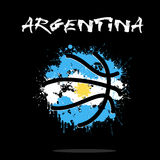 Flag of Argentina as an abstract basketball ball. Abstract basketball ball painted in the colors of the Argentina flag. Vector illustration Royalty Free Stock Photos