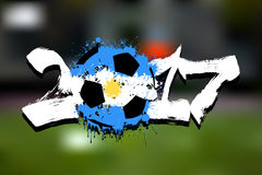 Flag of Argentina as an abstract soccer ball. Abstract soccer ball painted in the colors of the Argentina flag. Vector illustration Royalty Free Stock Image