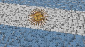 Flag of Argentina being made with jigsaw puzzle pieces. Argentinean problem solution conceptual 3D rendering. Flag made of puzzle pieces, conceptual 3D stock illustration