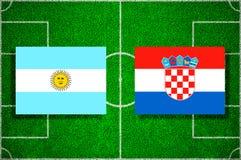 Flag Argentina - Croatia on the football field. Football match.  Stock Images