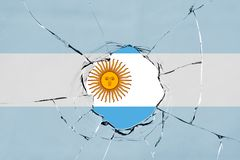 Flag of Argentina on glass. Flag of Argentina on a on glass breakage vector illustration