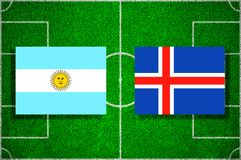Flag Argentina - Iceland on the football field. Football match.  Royalty Free Stock Images
