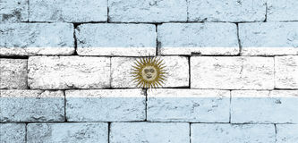 Flag of Argentina on old brick wall. Stock Photography
