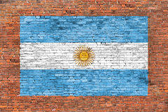 Flag of Argentina painted on brick wall. Flag of Argentina painted on old brick wall Stock Image