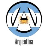 Flag of Argentina of the world in the form of a sign of anarchy vector illustration