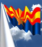 The flag of Arizona consists of 13 rays of red and weld-yellow  and the is blue. The flag of Arizona consists of 13 rays of red and weld-yellow on the top half Stock Photography