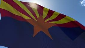 Flag of Arizona Waving in the Wind. Seamless Loop stock video footage