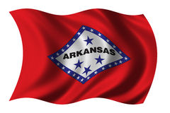 Flag of Arkansas. Waving in the wind - clipping path included Stock Photo