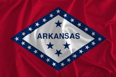 Flag of Arkansas Background, The Natural State. Land of Opportunity, Bear State, Wonder State Stock Photos