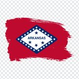 Flag of Arkansas from brush strokes. United States of America. Flag Arkansas on transparent background for your web site design, vector illustration