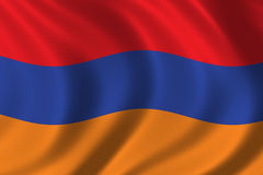 Flag of Armenia. Waving in the wind Stock Photos