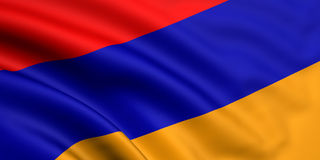Flag Of Armenia. 3d rendered and waving flag of armenia Royalty Free Stock Photography