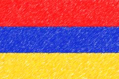 Flag of Armenia background o texture, color pencil effect. Stock Image